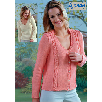V-Neck Sweater and Cable Panel Cardigan in Wendy Supreme Cotton DK