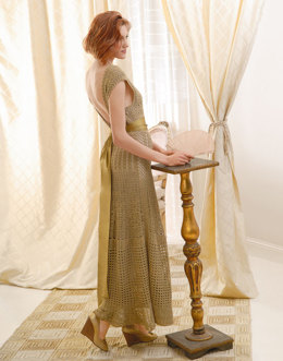 1930's Inspired Gown in Blue Sky Fibers Alpaca Silk - Downloadable PDF