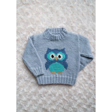 Intarsia Little Owl Chart Childrens Sweater Knitting Pattern By