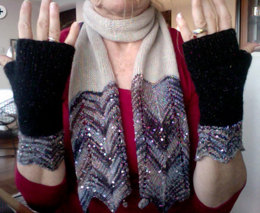 Sparkling Chevron Scarf and Mitts in Artyarns Beaded Silk and Sequins Light and Artyarns Cashmere 3