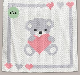 CROCHET C2C Baby Blanket - Sweet Heart