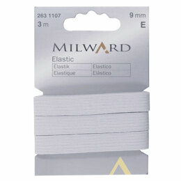 Milward Elastic: 3m x 9mm: White