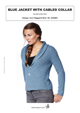 Blue Jacket with Cabled Collar in BC Garn Silkbloom Fino - 2336BC - Downloadable PDF