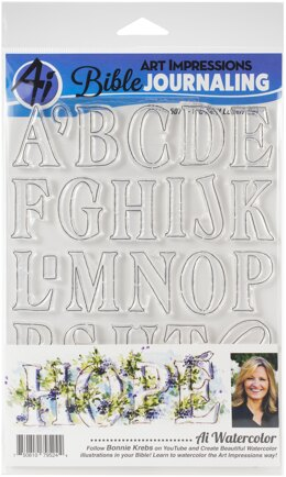 Art Impressions Bible Journaling Watercolor Clear Stamps - Wc Serif Letters