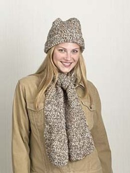One-Skein Hat & Scarf in Lion Brand Homespun - 30144-K