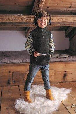 Boys Sweater with Zip up Collar in Bergere de France Barisienne - 71136-325 - Downloadable PDF