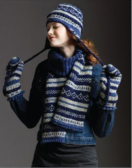 Fair Isle Scarf,Hat & Mittens in Tahki Yarns Donegal Tweed
