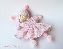 Pink Waldorf knitted girl doll for small babies