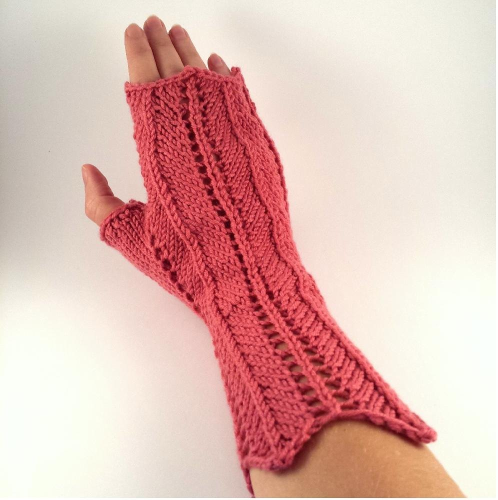 Knitting Pattern For Lace Gloves : Lace Chevron Fingerless Gloves Knitting pattern by SophiesKnitStuff Knittin...