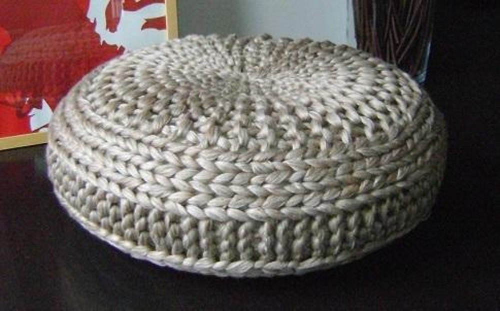 Mohair Cushion Knitting Pattern : Knitted Extra Large Pouf Pattern, Poof, Knitting, Ottoman, Footstool, Home De...