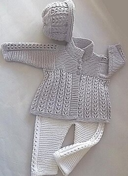Quick knit baby jacket, hat and matching pants - P047