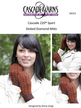 Dotted Diamond Mitts in Cascade 220 Sport - DK253