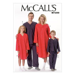 McCall's Misses'/Men's/Boys'/Girls' Top, Nightshirt and Pants M7299 - Sewing Pattern
