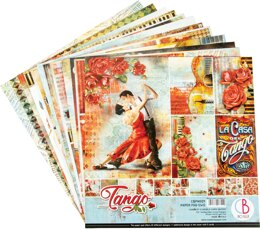 """Ciao Bella Double-Sided Paper Pack 90lb 12""""X12"""" 12/Pkg - Tango, 12 Designs/1 Each"""