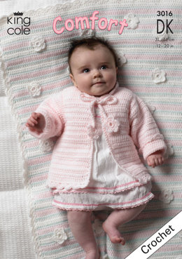 Baby Set with Pram Blanket in King Cole Comfort DK - 3016