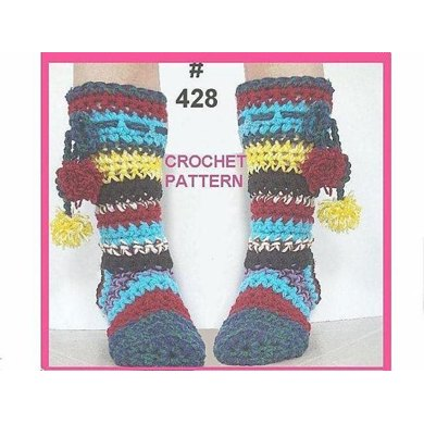 428 RAINBOW BOOT STYLE SLIPPERS, age 5 to adult