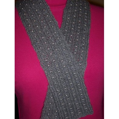 Charcoal Pearls cashmere scarf