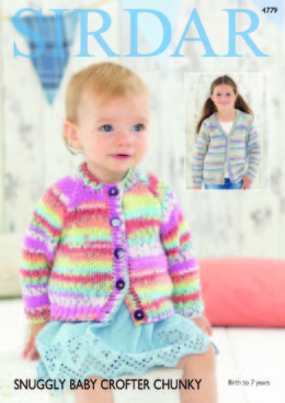 f1bcf4ba6e295c Round and V Neck Cardigans in Sirdar Snuggly Baby Crofter Chunky - 4779