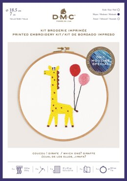"DMC Which one? Giraffe (printed fabric, 7"" hoop) Embroidery Kit"