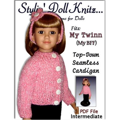 Cardigan Pattern, Top-down seamless for 23 inch doll (MY Twinn) 611