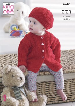 Jackets, Hats & Short Sleeved Cardigan in King Cole Aran - 4947 - Downloadable PDF