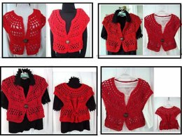 717 RED CROCHET SHRUG, SMALL TO PLUS SIZE