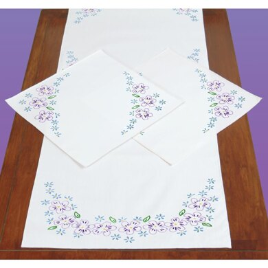 Jack Dempsey Stamped Dresser Scarf and Doilies Perle Edge - Lavender Flowers - Multi