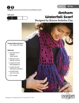 Waterfall Scarf in Cascade Yarns Anthem - W746 - Downloadable PDF