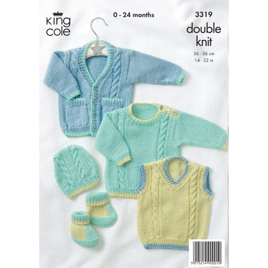Baby Sweater, Tank Top, Cardigan, Boots and Hat in King Cole Bamboo Cotton DK - 3319