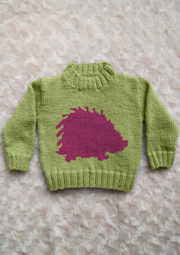 Intarsia Hedgehog Chart Childrens Sweater Knitting Pattern By