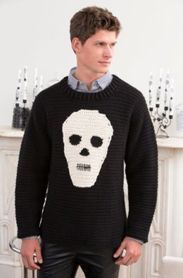 Skull Sweater in Red Heart Soft Solids - LW4414
