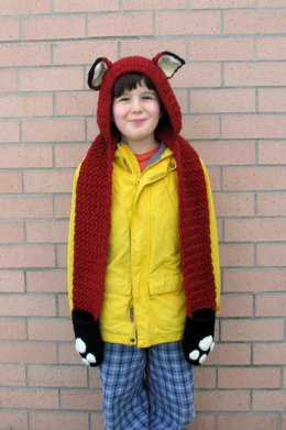 Fox Scoodie with Pockets in Lion Brand Wool-Ease - L20631