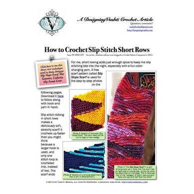 Slip Stitch Short Row Tutorial