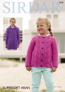 Round Neck and Flat Collared Cardigans in Sirdar Supersoft Aran - 2478 - Downloadable PDF