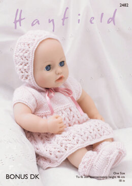 Baby Dolls Dress, Bonnet, Bootees & Pants in Hayfield Bonus DK - 2482 - Downloadable PDF