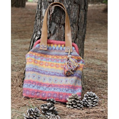 Large knitted felted colorful bag in Fair Isle pattern