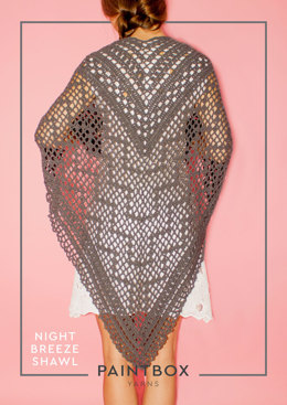"""Night Breeze Shawl"" - Shawl Crochet Pattern For Women in Paintbox Yarns Cotton DK"