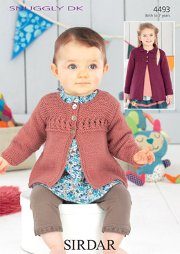 Baby Girl's and Girl's Cardigan and Coat in Sirdar Snuggly DK - 4493