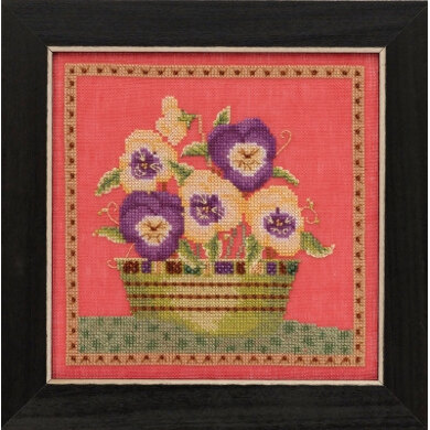 Mill Hill Blooms and Blossoms - Pansies - 7in x 7in