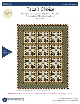 Windham Fabrics Papa's Choice - Downloadable PDF