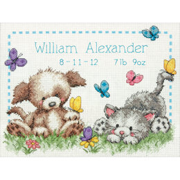 Dimensions Pet Friends Birth Record Cross Stitch Kit - 12 x 9 inches