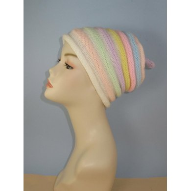 Candy Stripe Roll Brim Beehive Topknot Slouch