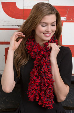 Full Ruffle Crochet Scarf in Red Heart Boutique Sassy Solids - LW4170 - Downloadable PDF