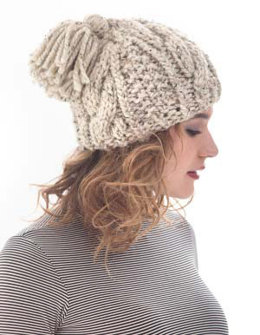 Cabled Tassel Hat in Lion Brand Wool-Ease Thick & Quick - L40181