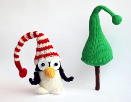 New Year Penguin in hat with Christmas tree