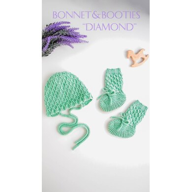 """Baby Bonnet and Booties """"Diamond"""""""