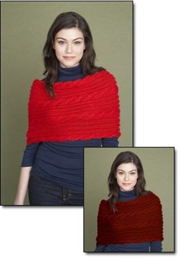 Cabled Poncho in Lion Brand Wool-Ease Chunky - 60620