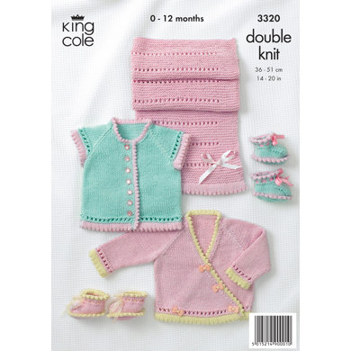 Baby Cardigans, Shoes and Pram Cover in King Cole Bamboo Cotton DK - 3320