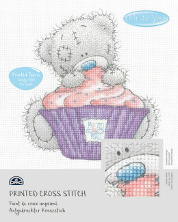 DMC Me To You - Tatty Teddy & Tiny Tatty Teddy - Cupcake (printed fabric) - 15cm x 15cm