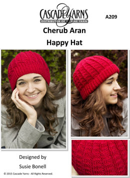 Happy Hat in Cascade Cherub Aran - A209